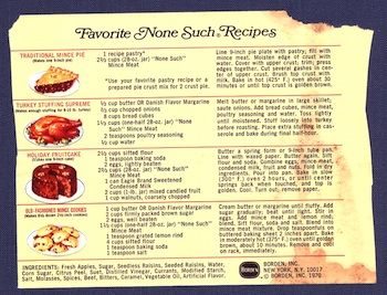 Recipe Traditional Mince Pie None Such Mince Meat Label 1960 S Recipelink Com Fruit Cake Cherry Loaf Recipes Fruitcake Recipes