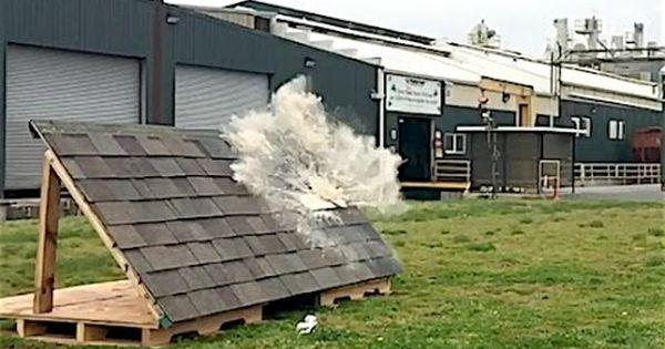 Soda Cannon Impact Test On Malarkey Polymer Modified Asphalt Roofing Shingles Youtube Roofing Roof Shingles Shingling