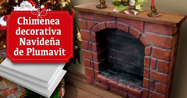 Chimenea decorativa navide a de plumavit youtube for Como hacer una chimenea falsa
