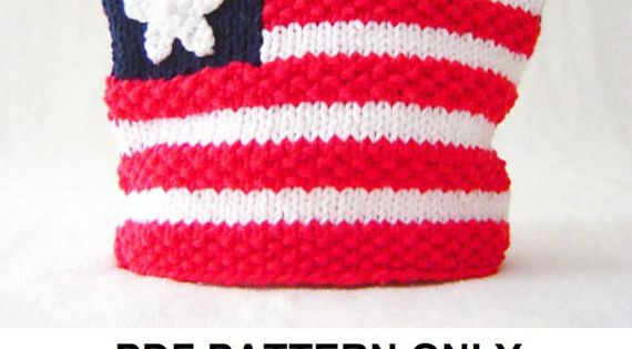 Knitting Pattern Us Flag : Knitting Pattern American Flag Hat Pattern by FiddlestyxStudios Knit - Kids...