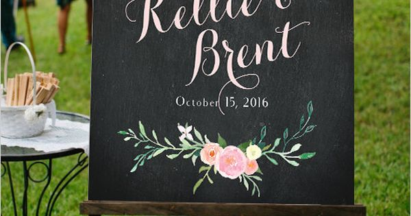 Welcome to Our Wedding Sign Chalkboard Floral Customizable ...