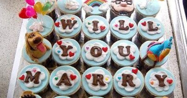 Will you marry me Up cupcakes. SO cute