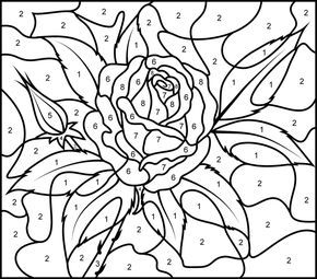 Rose Printable Color By Number Page Hard Pintar Por Numero