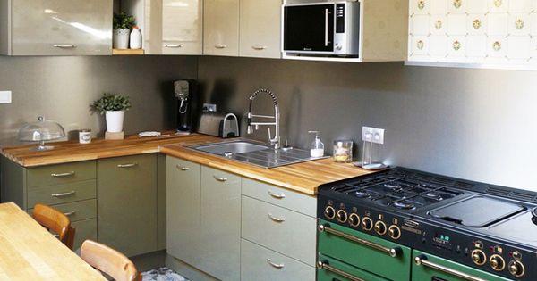 Cuisine rustique moderne couleur argile et finition brillante implantation en u plan de Implantation cuisine en u