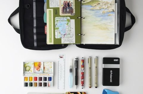 Tom bihn field journal turned into a travel art journal