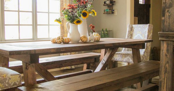 Ana white build a 4x4 truss benches free and easy diy for 4x4 dining table
