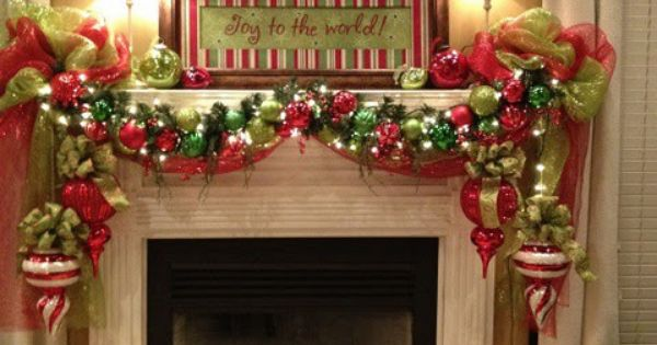 Red&green deco mesh Christmas Mantels - Christmas Decorating -