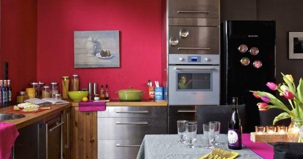 Cuisine rose colorée - pink kitchen | Home Decoration | Pinterest
