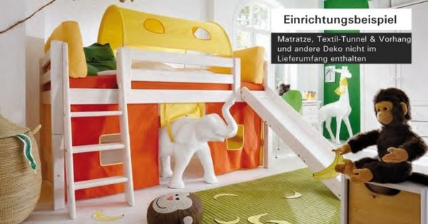 hochbett bett kinderbett mit rutsche kinderzimmer. Black Bedroom Furniture Sets. Home Design Ideas