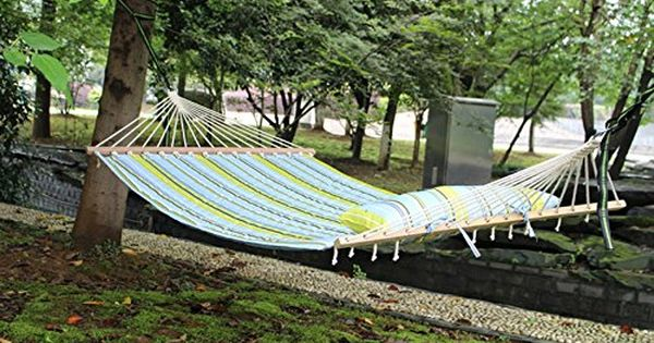 Shengyu Canvas Double Spreader Bar Hammock Outdoor Camping Swing Hanging Free Shipping Bule White See This Great Product Hammock Outdoor Camping Furniture