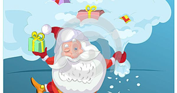 Super Santa Claus Coming From Sky With Christmas Presents Christmas Present Vector Christmas Presents Santa Claus