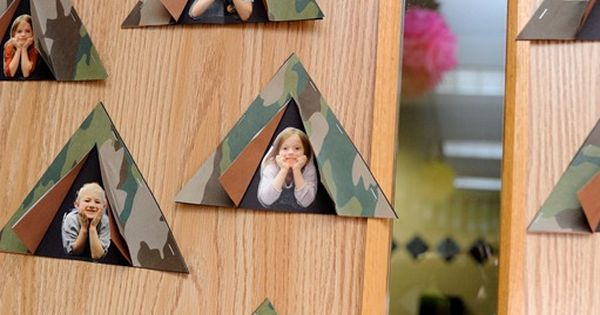 Happy campers= cute idea for a bulletin board inside or outside your