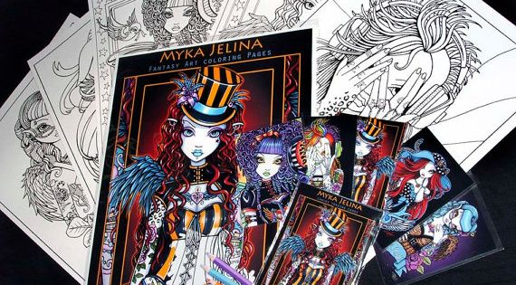 Myka jelina fantasy art coloring pages trading card set for Myka jelina coloring pages