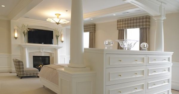 Love this master bedroom idea of built in dresser also serving as