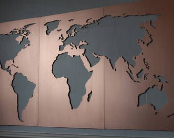 LARGE Wall Art World Map metal / Vintage World Map Print ...
