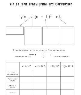 Quadratic Equations Vertex Form Discover Transformations