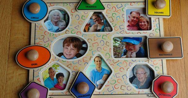Cute idea... family photos under puzzle pieces.