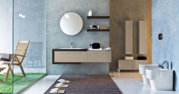 Blue biege bathroom architecture pinterest ba os - Cristales para banos ...