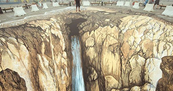 3D street art (aka pavement, chalk or sidewalk art), a form of
