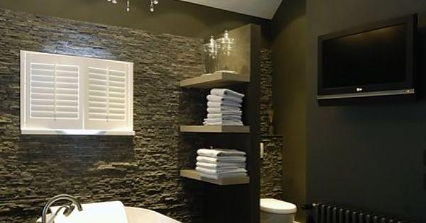 Ruwe steen in combinatie met donker glad stucwerk badkamer pinterest donker badkamer en bad - Badkamer donker ...