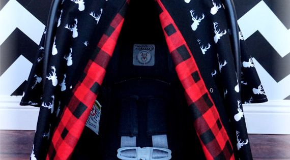 Black And White Deer Head Chevron Red Plaid Flannel