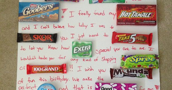 Candy Card Made For Boyfriends Birthday Personalized