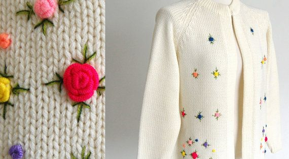 Fully Fashioned Knitting : Vintage granny cardigan sweater embroidered floral