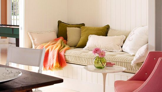 Adding color to a room without paint! Pops of color with pillows,