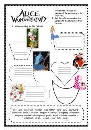 English Worksheet Alice In Wonderland Alice In Wonderland Book Alice In Wonderland Classroom Alice In Wonderland Crafts Reception english worksheets pdf uk
