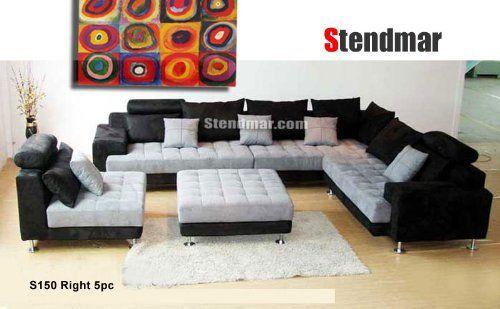 5pc Multifunction 2 Tone Microfiber Big Sectional Sofa Set S150rbg