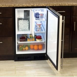 Marvel 24 Inch Left Hinge Compact Refrigerator Ice Maker Stainless Steel Ml24ris4ls Bbqguys Refrigerator Freezer Refrigerator Ice Maker Undercounter Refrigerator
