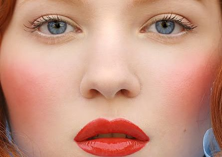 Porcelain Doll Makeup Tutorial, a perfect coral-red for natural redheads!