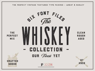 The Whiskey Font Collection Vintage Typography Lettering Fonts Design