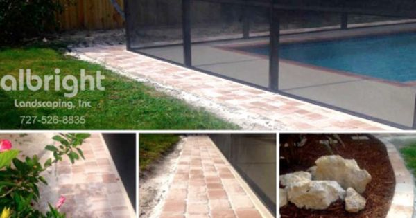 New Paver Walkway And Plant Beds Around The Pool Cage Landscape Services Pool Landscaping Hardscape