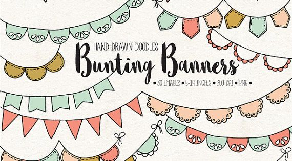 hand drawn bunting clip art doodle bunting by