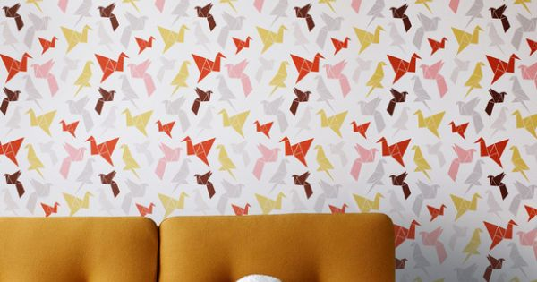 Beautiful origami bird wallpaper. Perfect for a little girl's room.