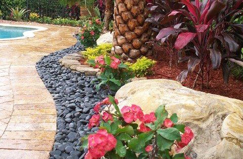 Tropical front yard landscaping ideas with palm trees for Landscaping rocks broward county