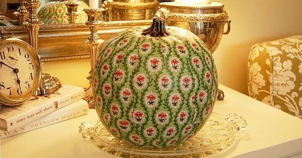 Fabric pattern decoupaged on a pumpkin.