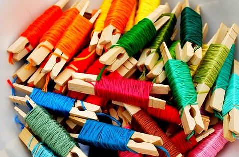 Organizing embroidery floss on clothes pins - Write the color name or