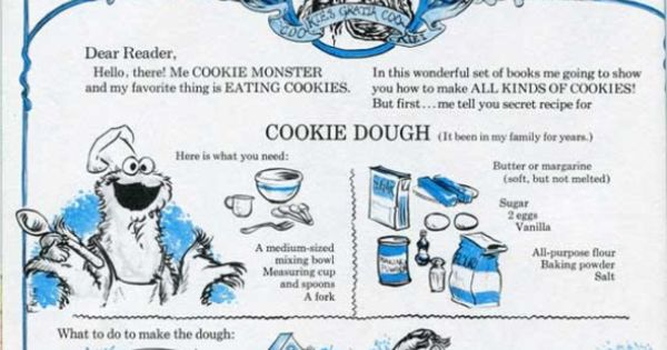 Dough recipe, Cookie monster and Sugar cookies on Pinterest
