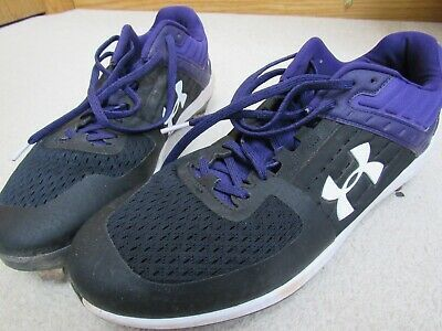 Under Armour Baseball Cleats Metal Men S 12 Purple Black Needs Insoles Ebay Baseball Cleats Purple And Black Under Armour