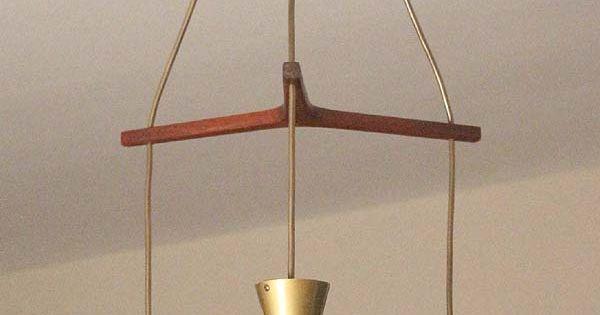 Mid century danish triple pendant lamp teak diabolo shade for Eames lampe