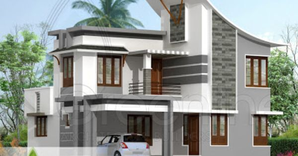Sq ft modern indian style house elevation 400 for Arch design indian home plans