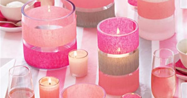 Pick up dollar store vases & candles and add assorted ribbons to