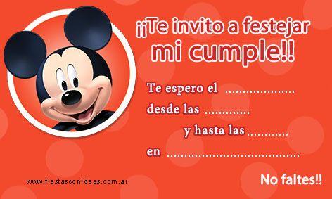 Mickey Mouse Nueva Tarjeta De Cumpleaños Para Imprimir De