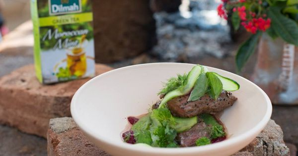 Lamb with sweet pea purée paired with Dilmah Moroccan Mint Green tea ...