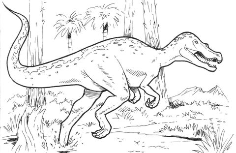 Baryonyx Dinosaur Coloring Page From Saurischian Dinosaurs