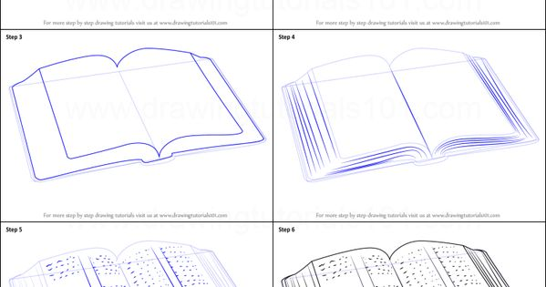 how to draw a realistic open book