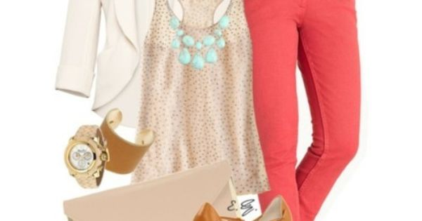 Love the coral jeans or color jeans this summer. Cute outfit minus