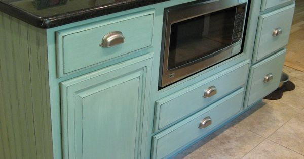 Kitchen island makeover duck egg blue chalk paint blue for Duck egg blue kitchen island